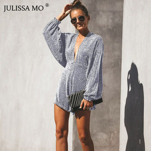 Julie Sparkly Backless Short Jumpsuit - Lynne & Trends