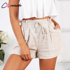 Beatrice Beige Lace Up Shorts - Lynne & Trends