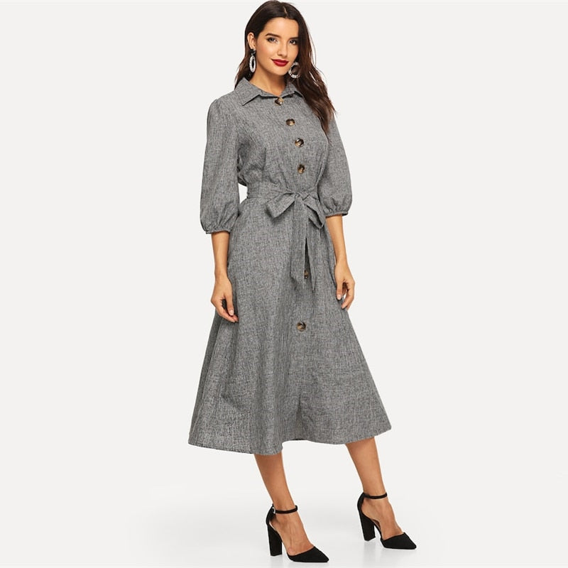 Sheena Front Button Gray A Line Dress - Lynne & Trends