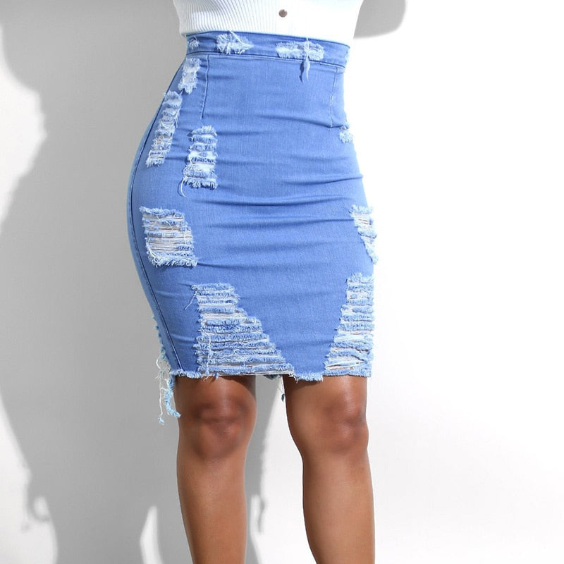 Lyca High Waist Blue Denim Long Skirt - Lynne & Trends