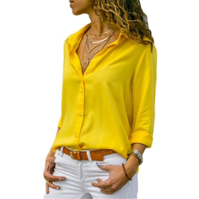 Alexa Long Sleeve V-Neck Chiffon Tops - Lynne & Trends