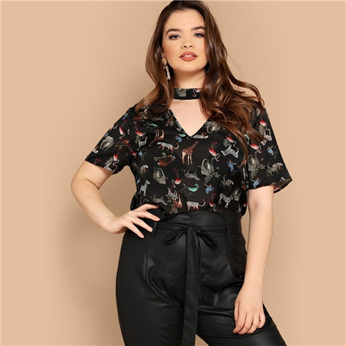 Mary Pattern Plus Size Short Sleeve Blouse - Lynne & Trends