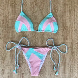 Tropical Print Bikini String Swimwear - Lynne & Trends