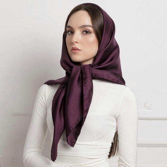 Plain Colors Satin Square Wraps Scarf - Lynne & Trends