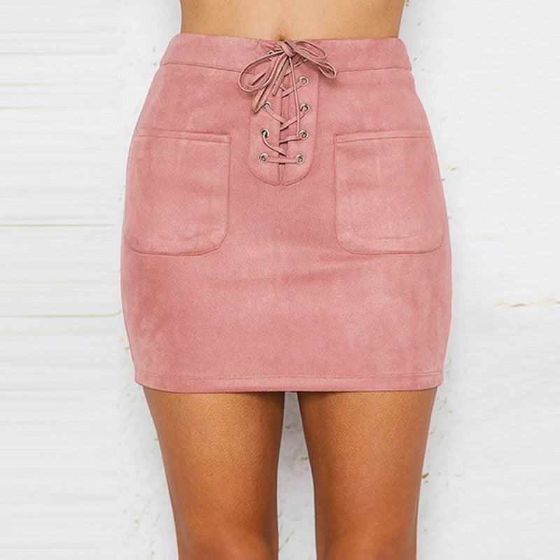 Trisha Lace Up Leather Suede Pencil Skirt - Lynne & Trends