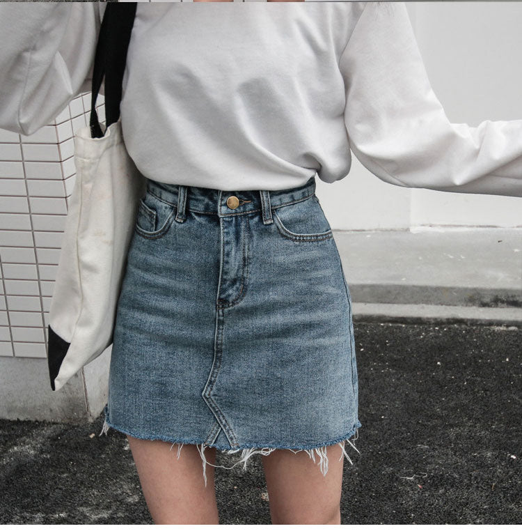 Sky High Waist Denim Skirt - Lynne & Trends
