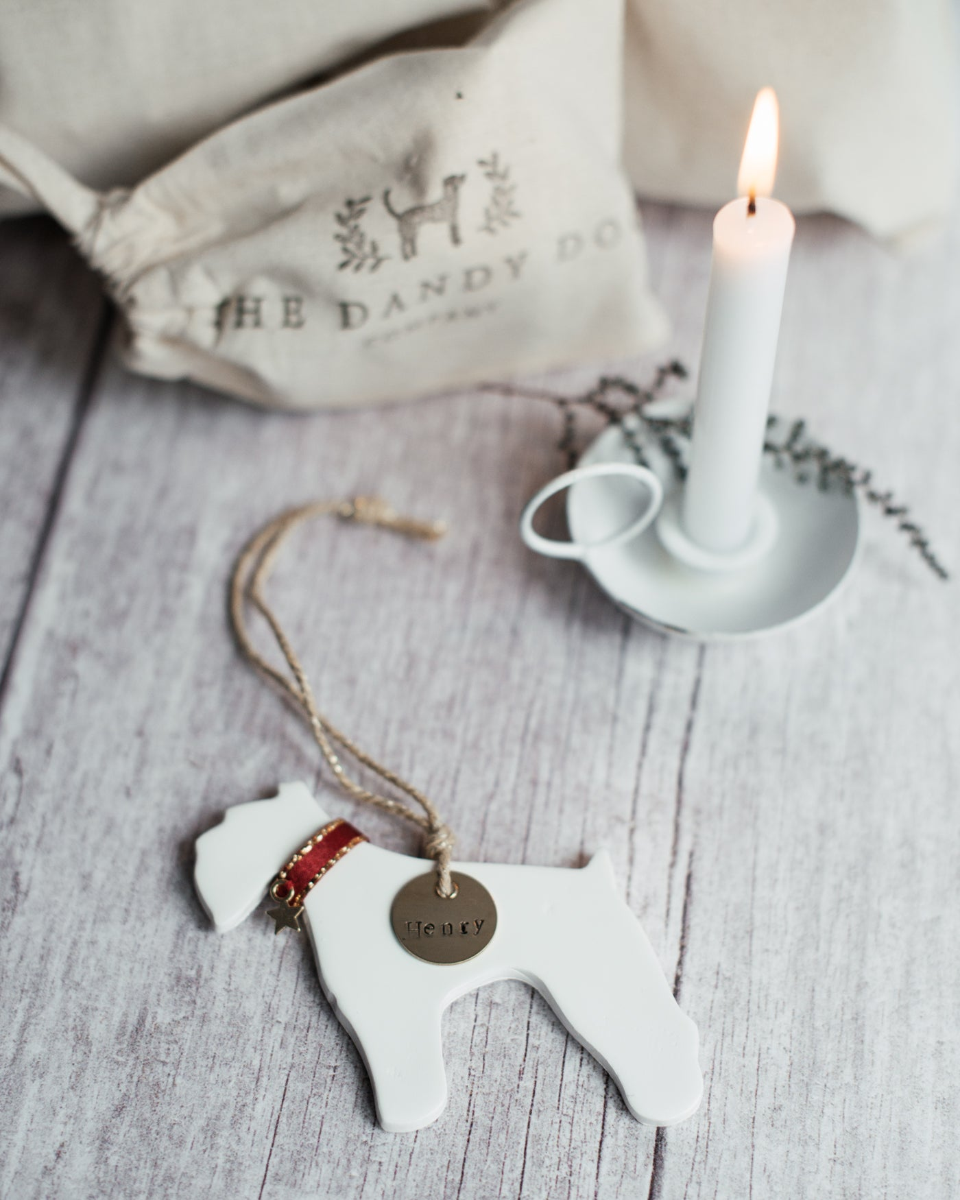 Ceramic Fox Terrier Hanging Christmas Tree Decoration