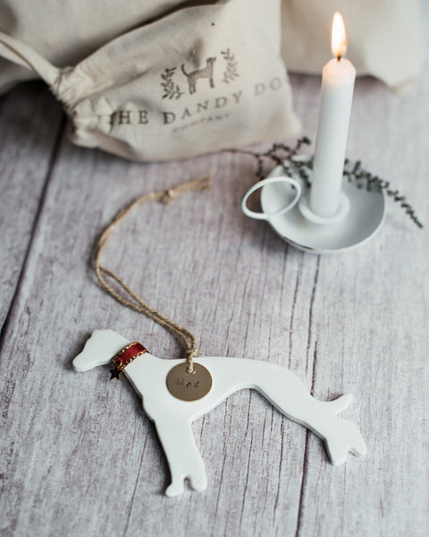 Greyhound Ceramic Hanging Christmas Tree Decoration