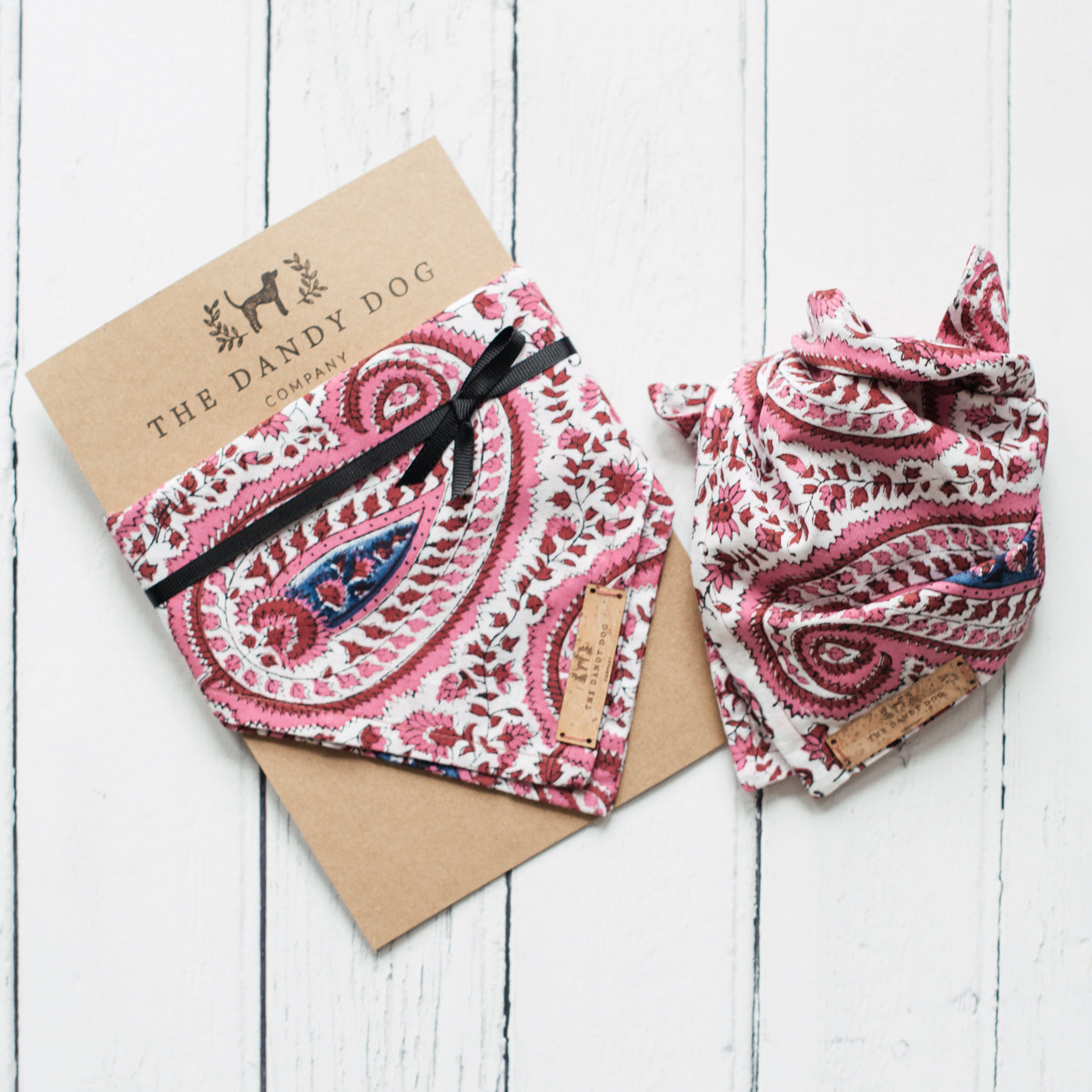 Pink Hand Block Printed Neckerchief