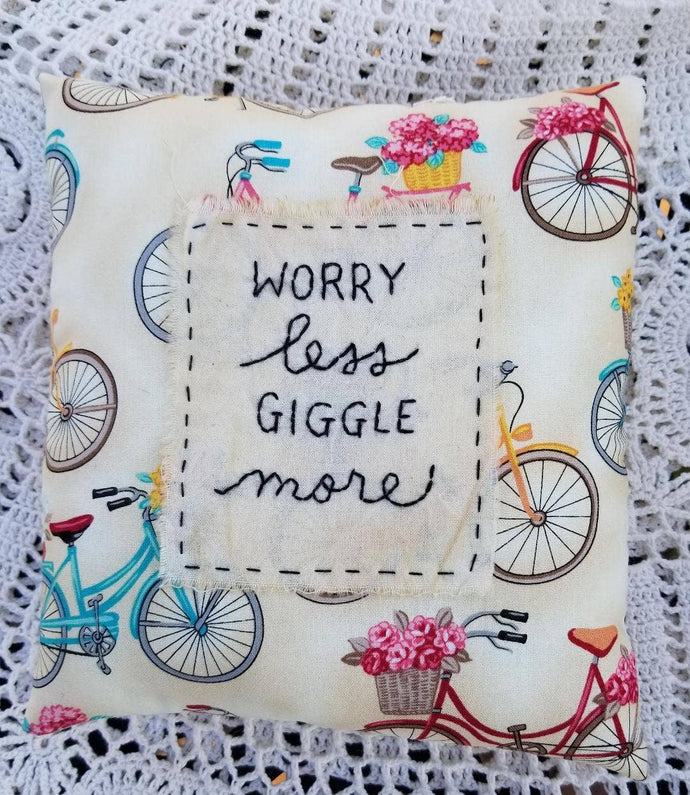 Worry Less, Giggle More Pillow