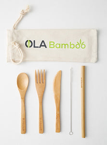 Bamboo utensil kit with straw