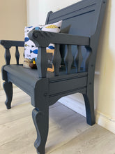Load image into Gallery viewer, Cottage chic solid wood deacons entryway bench pew