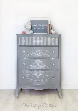 Parisian chic solid wood tallboy dresser chest of drawers