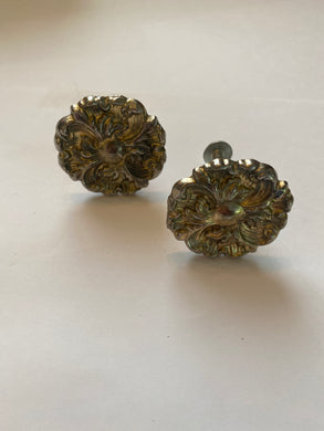 Antique bronze floral knobs