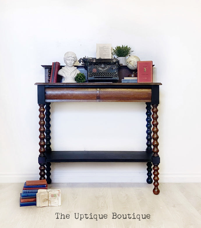 Antique 1900 solid wood entryway table writing desk