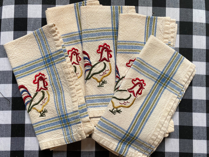 Set of 5 Farmhouse rooster napkins