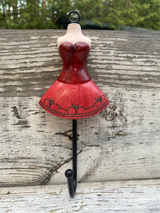 "7"" Red Parisian dress hook"