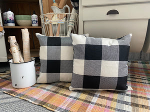 Buffalo check burlap pillows