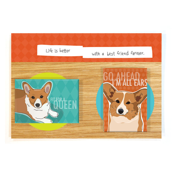 Corgi Dog Magnet Four Pack - Red