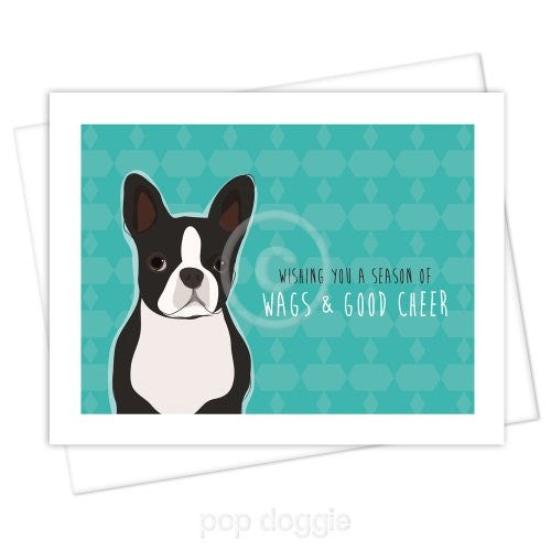 boston terrier christmas card