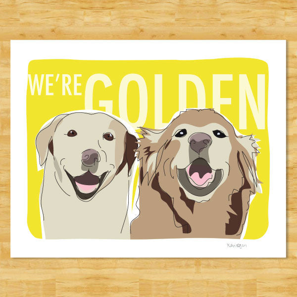 Golden Retriever and Labrador Retriever Art Print