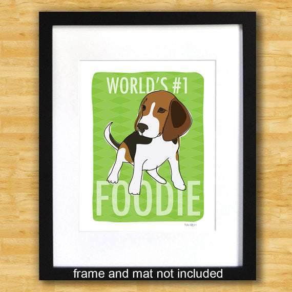 Beagle Art Print - World's Number One Foodie