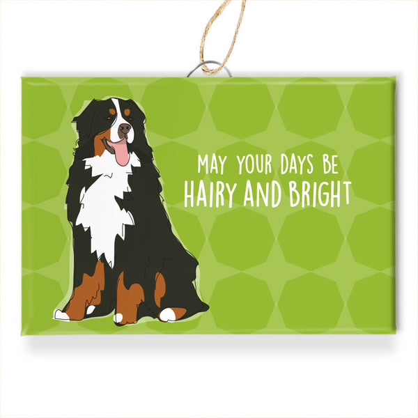 Bernese Mtn Dog Christmas Ornament - May Your Days Be Hairy and Bright