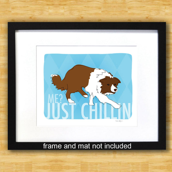 Border Collie Art Print - Just Chillin - Red Brown Border Collie