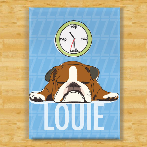 Personalized Brown Bulldog Magnet