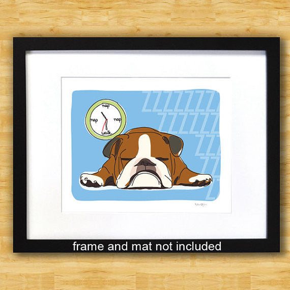 Bulldog Art Print - Nap - Brown and White