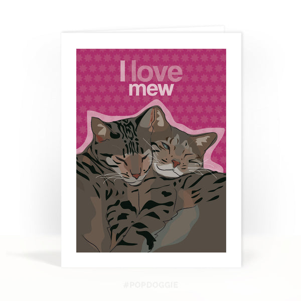 Cat Valentines Day Card - I Love Mew