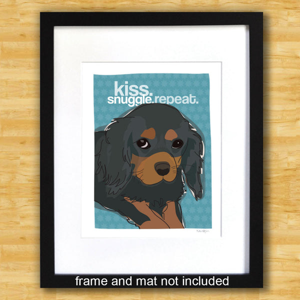 Cavalier King Charles Spaniel Art Print - Kiss Snuggle Repeat - Black and Tan Cavvie