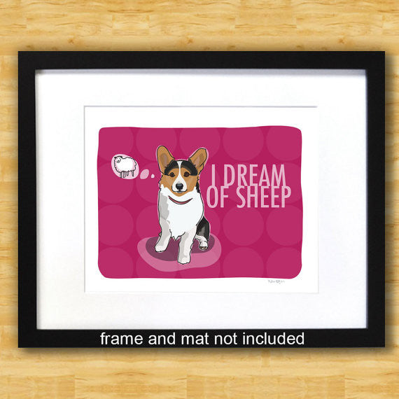 Corgi Art Print - I Dream of Sheep - Tricolor Corgi
