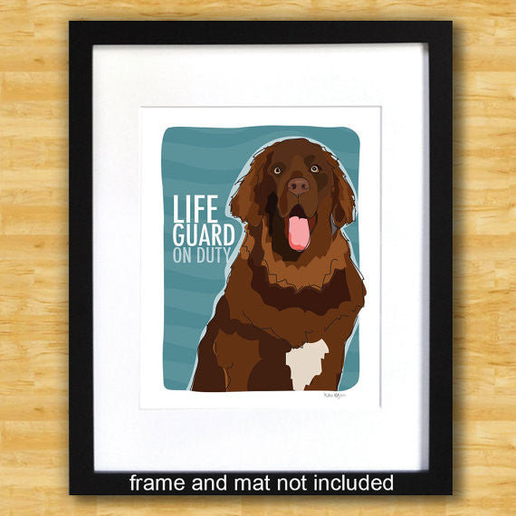 Newfoundland Art Print - Lifeguard on Duty - Brown Newfie