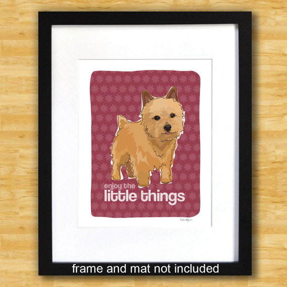 Norwich Terrier Art Print - Enjoy The Little Things