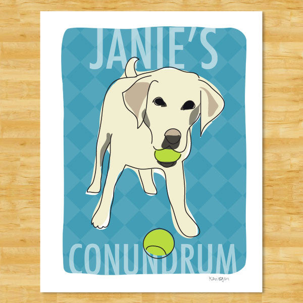 Personalized Yellow Labrador Retriever Art Print