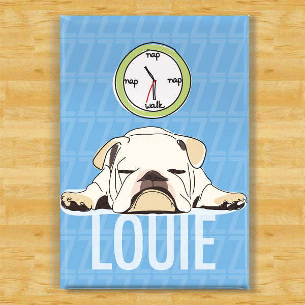 Personalized White Bulldog Magnet