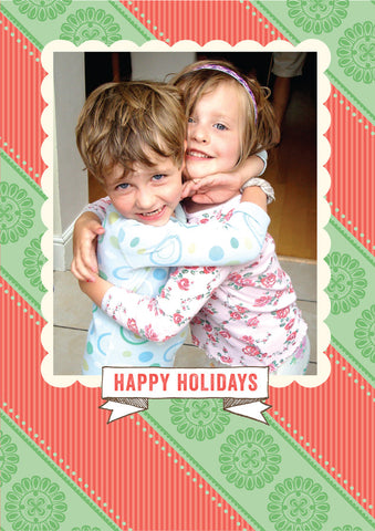 """Kindness"" Holiday Postcard - Red & Green"