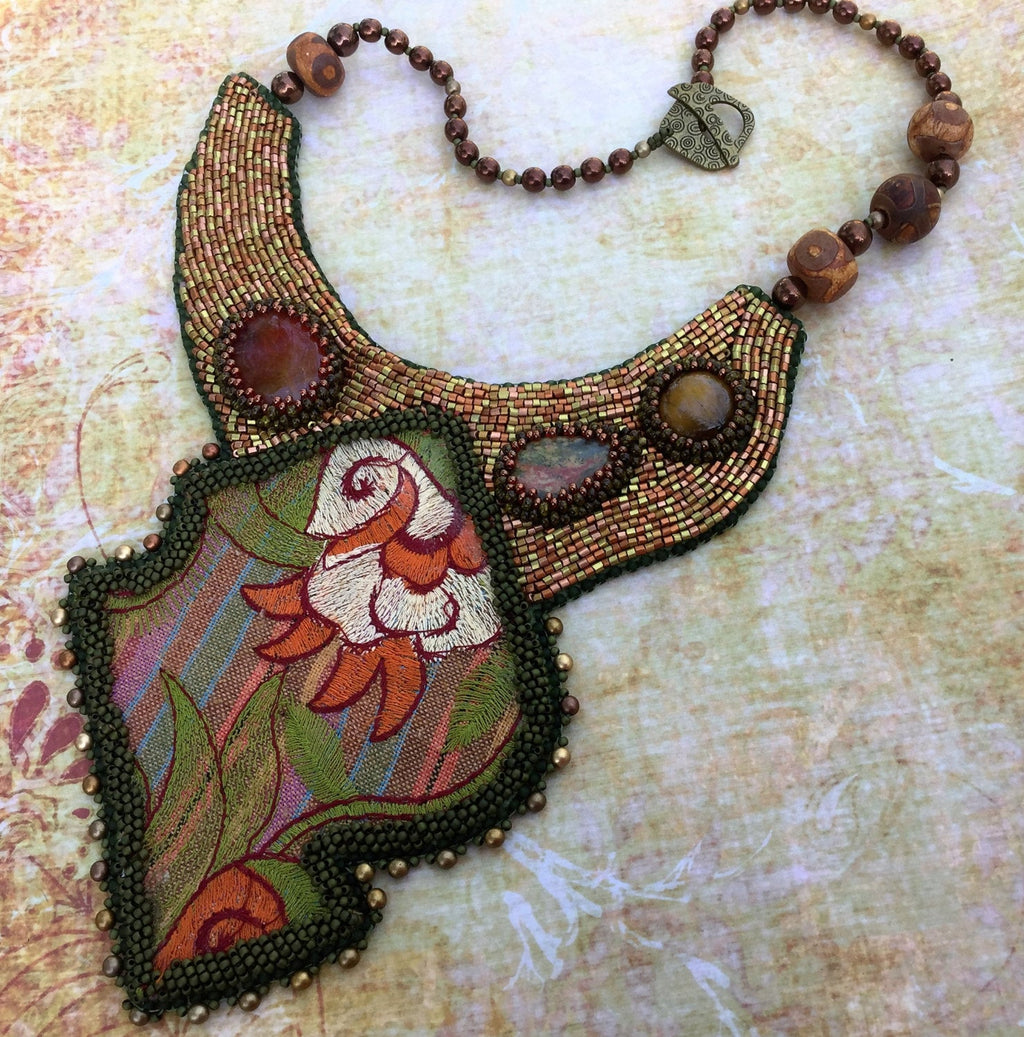 Bead Embroidery Textile Necklace