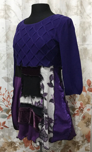 Purple Lattice Tunic Dress Special Occasion Handmade Size Large