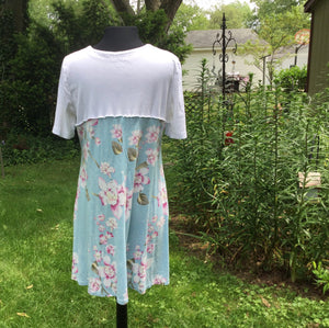 Floral White and Blue Tunic Dress Plus Size