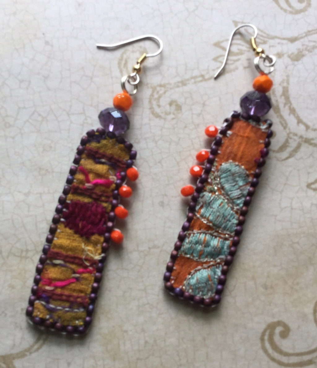 Colorful Boho Textile sari fabric earrings