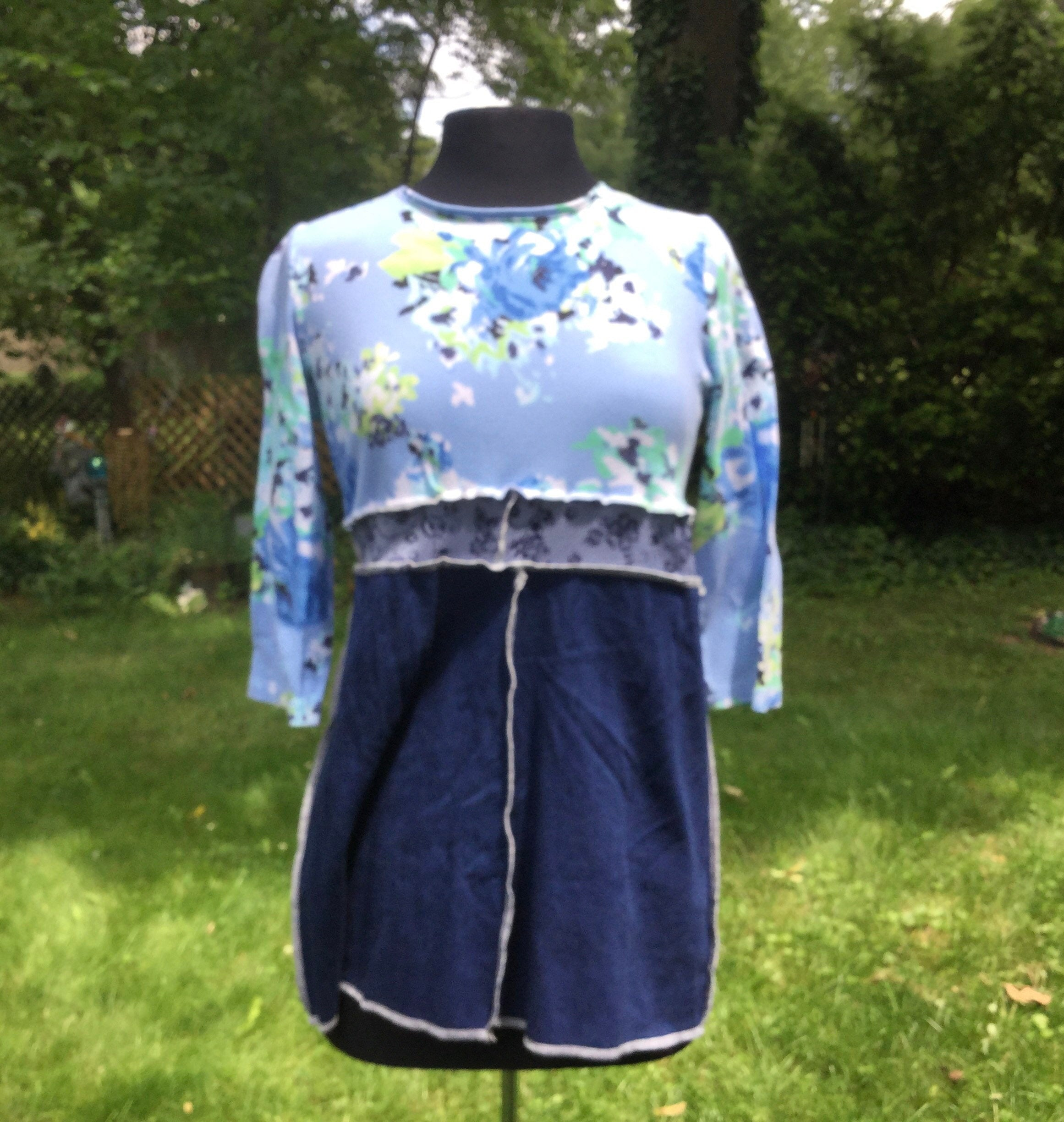 Blue Floral and Denim Tunic