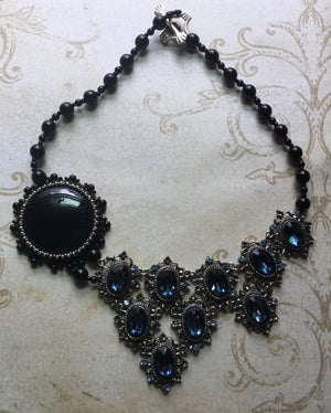 Crystal and onyx collar necklace
