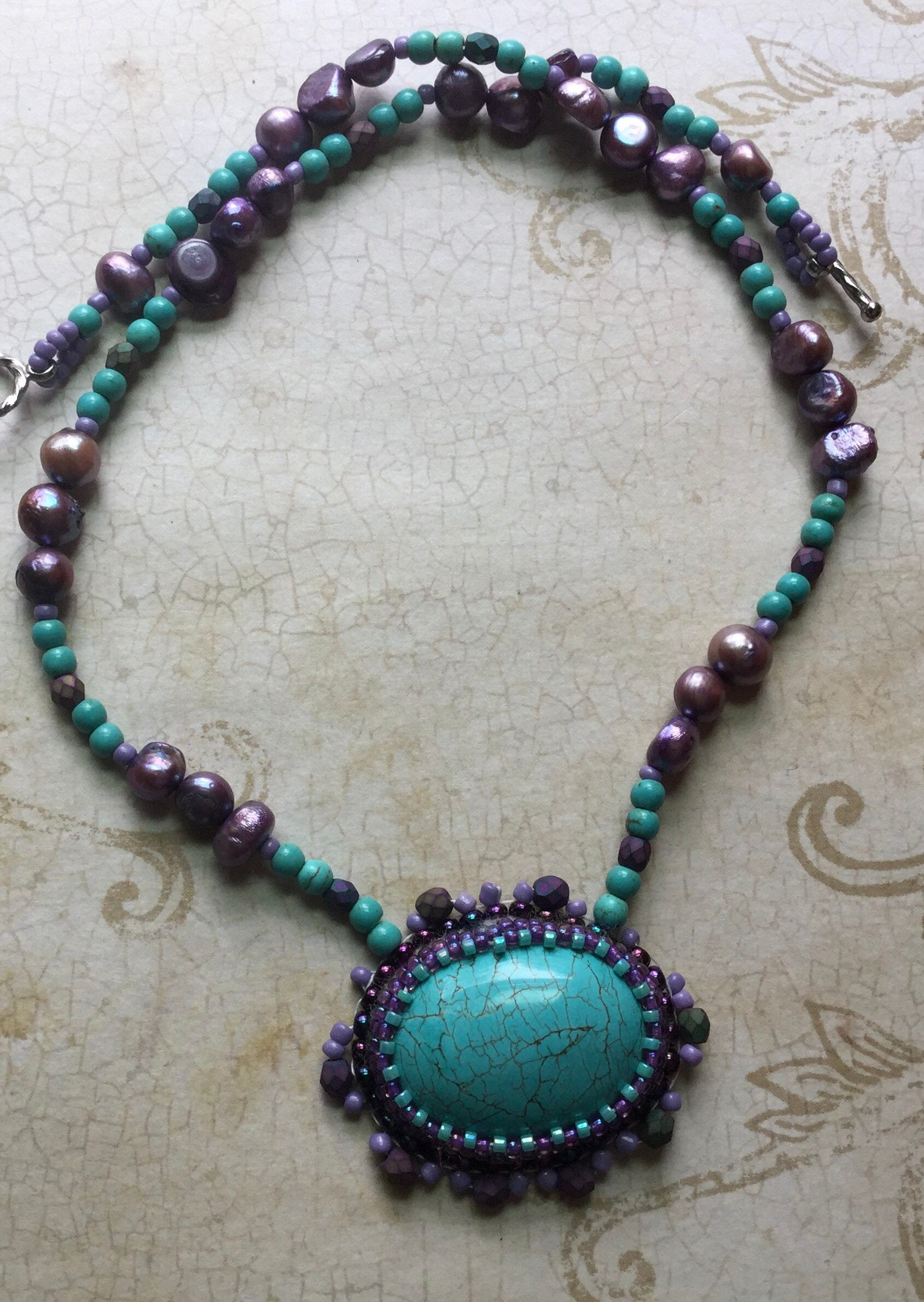 Turquoise and Pearl beaded pendant necklace