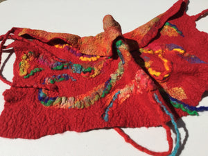 Red neck warmer felted scarf Wearable art