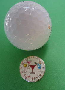 19th Hole w/ Crystals Ball Marker golf ball pic