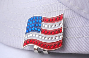 American Flag Ball Marker hat brim pic
