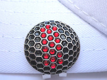 Black Ball w/ Red Crystals Ball Marker hat brim pic
