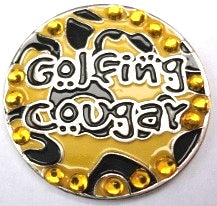 Golfing Cougar with Crystals Ball Marker product pic